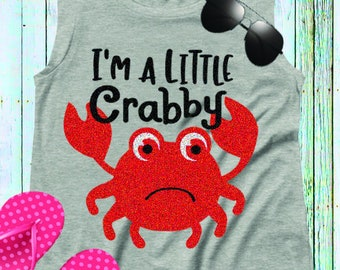 Crab SVG, I'm a little Crabby Baby shirt design, Cut file Instant download t shirt design iron on, Svg, Eps, dxf, Png Cricut, Silhouette