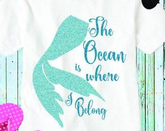 Mermaid Svg, The Ocean is where I belong, mermaid cut file, Beach svg waves svg scales summer svg, Eps, Dxf, Png