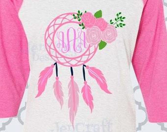 Dreamcatcher Svg Floral Dream Catcher Svg Monogram frame, monogram svg Boho cut files for cricut Feathers SVG Eps Png Dxf, Cricut Silhouette