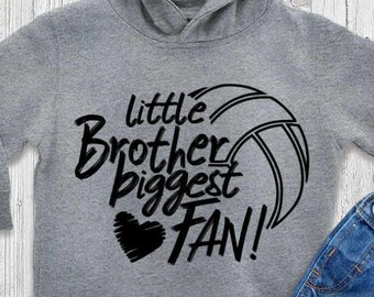Volleyball SVG, Little brother Biggest Fan shirt design, volleyball cut file, sis, sister brother bro, svg, eps, dxf, black sublimation png