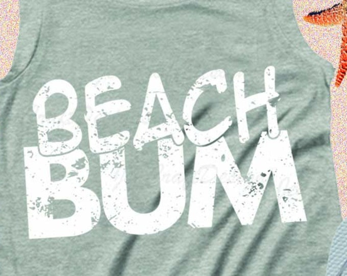 Distressed Beach Bum SVG, Ocean, Vacation, Nautical Summer SVG, EPS, Dxf, Png, Cricut, Silhouette Cut file instant download iron on design