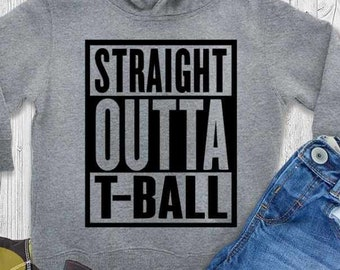 T-Ball svg, Straight Outta T-Ball SVG Kids Softball Baseball Cut Files Cricut, Silhouette Svg, Eps, Dxf, Png Digital Design Print File