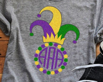 Mardi Gras Monogram Frame Jester Crown Fat Tuesday New Orleans Svg Cuttable Design Frame Monogram SVG EPS Png DXF, Cricut Silhouette