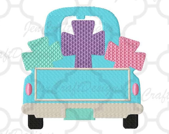 Vintage Christian Cross Truck Embroidery Design, Easter Instant Download digital file in PES, EXP, VIP, Hus, Xxx and Jef