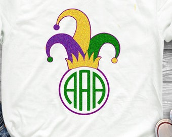Mardi Gras Jester's Hat Monogram Frame Jester Crown New Orleans Svg Cuttable Design Frame Monogram SVG EPS Png DXF, Cricut Silhouette
