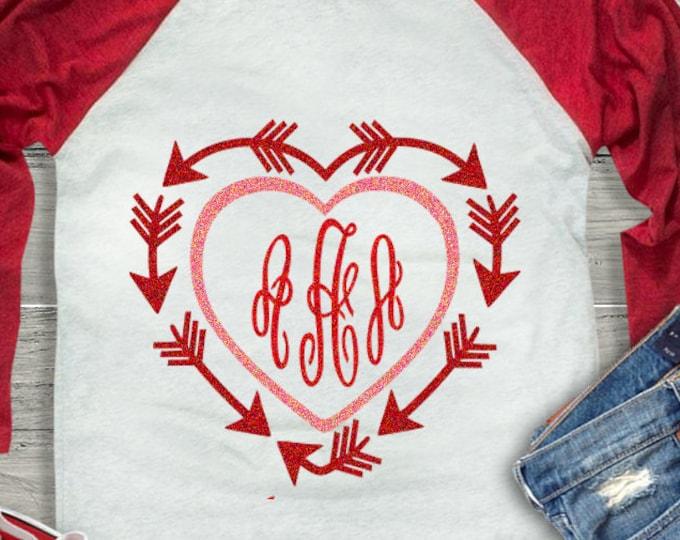 Valentine Heart Arrow Monogram Frame SVG, valentines SVG Eps Png Dxf, Cricut DS Silhouette Studio, Digital Cut Files Instant Download