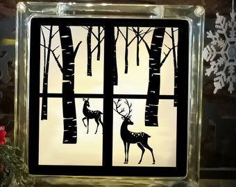 Reindeer Svg Christmas Winter Scene svg  Glass Block design, woods SVG,EPS Png DXF for Silhouette Cricut, Vinyl Cutting Machines Buck Doe