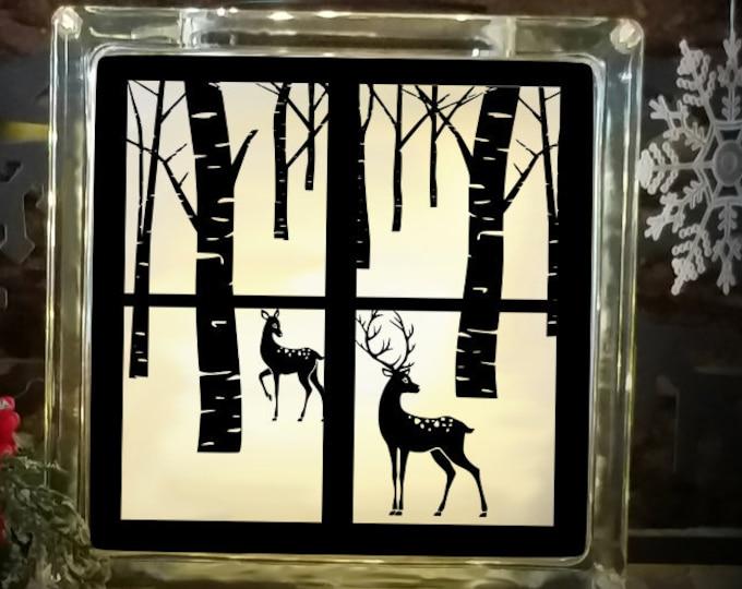 Reindeer Svg Christmas Winter Scene svg  Glass Block design, woods SVG,EPS Png DXF for Silhouette Cricut, Vinyl Cutting Machines Buck Doe