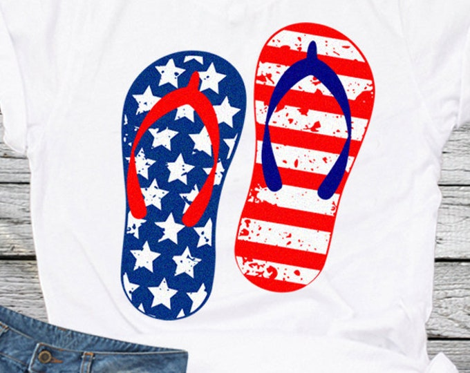 Distressed American flag Flip Flops USA 4th of July svg, Fourth of July Memorial Day Cricut Silhouette, Die Cut Machines. Svg, Dxf, Eps, Png