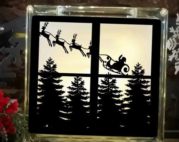Christmas Svg Santa Reindeer Flying Scene Cutting File Glass Block Christmas Tree  SVG,EPS Png DXF,digital download files Silhouette Cricut