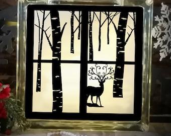 Christmas Svg File Winter Scene Deer Glass Block Reindeer SVG,EPS Png DXF,digital download files Silhouette Cricut, Vinyl Cutting Machines