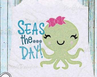 Octopus SVG, Seas the Day shirt design, Cut file Instant download t shirt design, Svg, Eps, dxf, Png Cricut, Silhouette