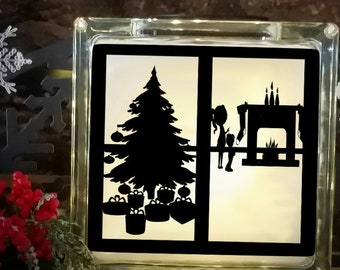 Christmas Svg File Children Scene Cutting File Glass Block Christmas Tree  SVG,EPS Png DXF,digital download Silhouette Cricut