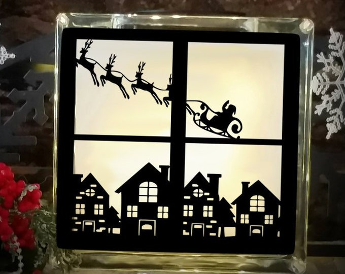 Christmas Svg File Santa Village Scene Cutting File Glass Block Christmas Tree  SVG,EPS Png DXF,digital download files for Silhouette Cricut