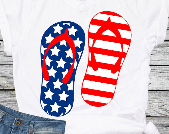 American flag Flip Flops USA svg, 4th of July svg, Fourth of July Memorial Day Cricut Silhouette, Die Cut Machines. Svg, Dxf, Eps, Png