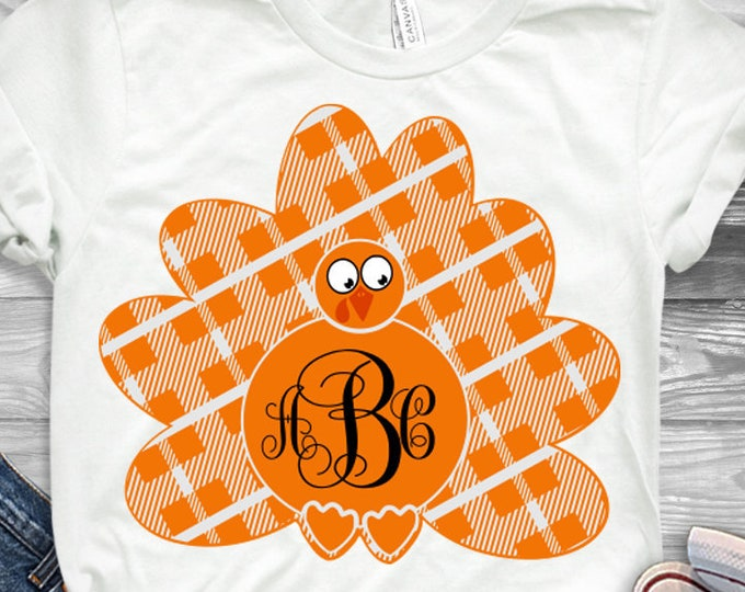 Buffalo Plaid Turkey SVG Monogram Frame SVG Thanksgiving Fall Autumn Iron on shirt design for Cricut, Silhouette SVG, Eps, Dxf and Png