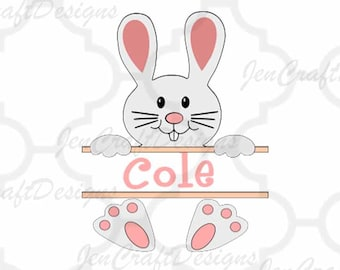 Split Bunny Monogram Svg Frame, Split Monogram Easter Peeping Rabbit SVG,EPS Png Dxf,digital download files for Silhouette Cricut