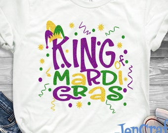 Mardi Gras King Svg Mardi Fat Tuesday Gras SVG Jester Crown New Orleans Boy Shirt SVG EPS Png Dxf Cricut Silhouette Cut File Printable