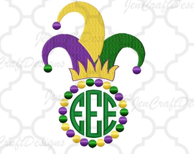 Mardi Gras Jester Hat Embroidery Design #3  PES Mardi Gras Hat Instant Download digital file in EXP, HUS, Jef, Pes, Vip and Xxx