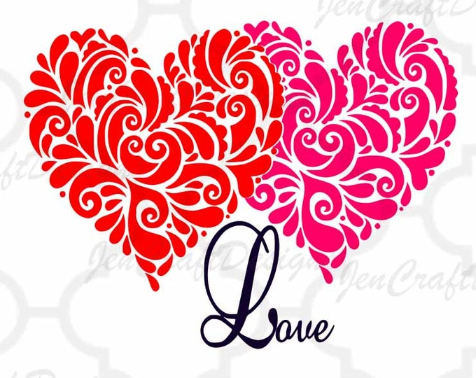 Valentine's Heart SVG Cuttable SVG, Eps, Dxf and Png Cut files for Cricut DS, Silhouette, Vinyl Cutters and Screen Printing Instant download