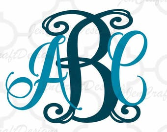 Exclusive Curly Vine Locking Monogram Alphabet svg Upper & Lower Cutting File- SVG EPS Dxf Cut Files A-Z Alphabet Shilhouette and Cricut Ds