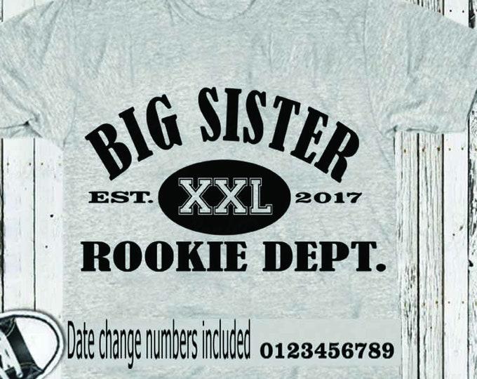 Big Sister Rookie Dept. SVG EPS DXf Stuido3 cut file set, Printable Png, Cricut Design Space Silhouette Studio Digital Cut Files, Sibling