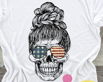 4th of July png American mom skull Sublimation png, 4th of July png, mom skull with sunglasses and bun digital download Design