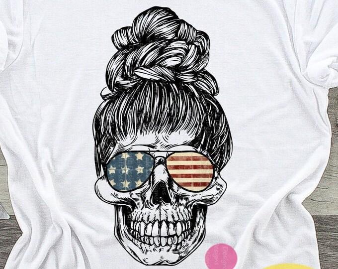 4th of July png American mom skull Sublimation png, 4th of July png, mom skull with sunglasses and bun digital download Design