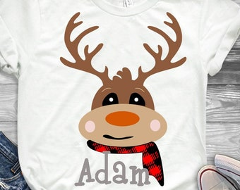 Christmas SVG Plaid Reindeer Monogram Holiday Deer Design SVG,EPS Png Dxf Silhouette Cricut, vector Clip Art graphics Vinyl Cutting Machines