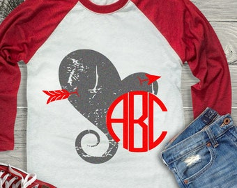 Distressed Grunge Arrow Heart Monogram Frame svg Valentine svg, Kids Valentines Day SVG, DXF, EPS shirt, Boho Cricut Silhouette