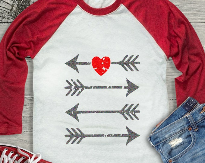 Arrow Heart Distressed Grunge Valentine svg, Kids Valentines Day SVG, DXF, EPS shirt, Boho Cricut Silhouette