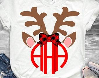Antlers Reindeer Monogram Frame SVG Antler Bow svg Christmas SVG EPS Png Dxf, Cricut, Silhouette, Digital image Cut Files Instant Download