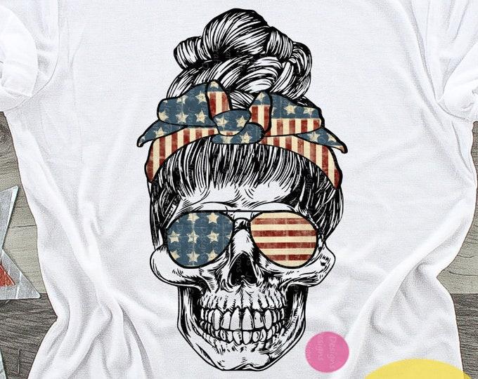 Patriotic American mom skull png 4th of July png  Sublimation png, 4th of July png mom skull with sunglasses and bun digital download Design