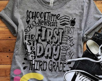School svg, Third Grade svg Back to School SVG First day svg 3rd Grade Typography First Day of School svg, Sublimation Png, Student Eps Dxf