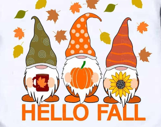 Hello Fall svg, Thanksgiving Gnomes svg, Autumn Gnomes svg, Halloween svg, Cut File Svg files for cricut, cut file dxf eps silhouette Cricut