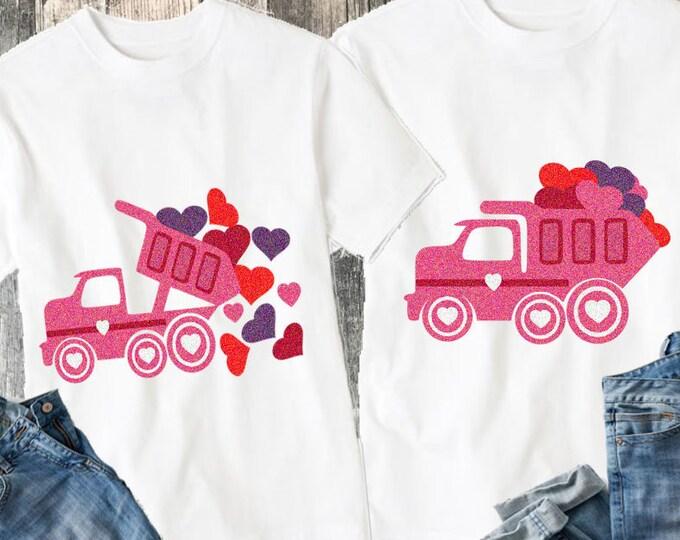 Valentine svg Hearts Dump Truck SVG, DXF, eps, png for Silhouette Cricut Digital Cut Files Instant Download. Truck svg, Heart svg.