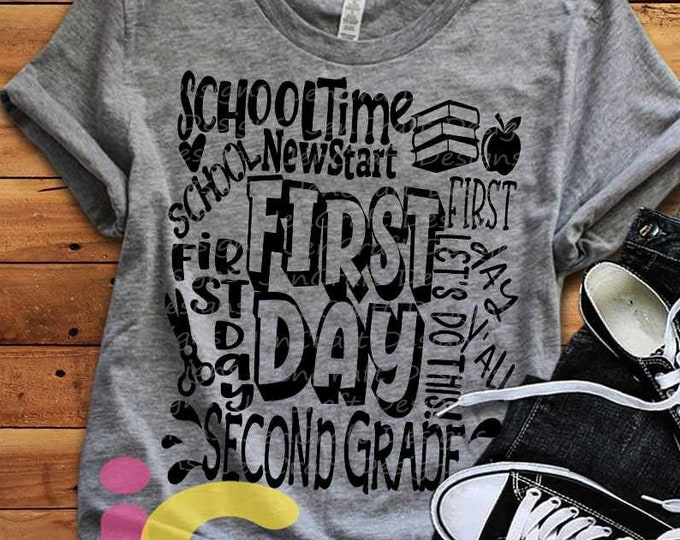 School svg Second Grade svg Typography Back to School SVG First day svg 2nd Grade First Day of School svg, Sublimation Png, Student Eps Dxf