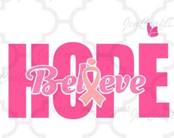 Cancer Awareness Ribbon SVG Believe Hope SVG Cut Files -Svg, Eps, Dxf and PNG Cricut Design Space and Silhouette Studio