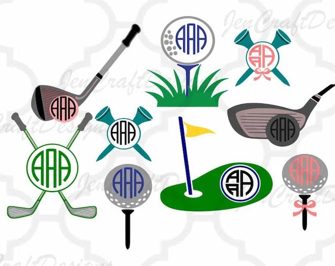 Golf Monogram Frame Cuttable Designs SVG, DXF, EPS, Png Silhouette Studio & Cricut, Vector Art, Vinyl Digital Cutting Cut Files