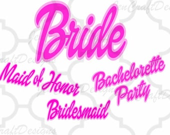 Barbie Bridal bacheorette Party Wedding Barbie font SVG, DXF, FCM, eps, png  for Cutting Machines Cameo, Cricut
