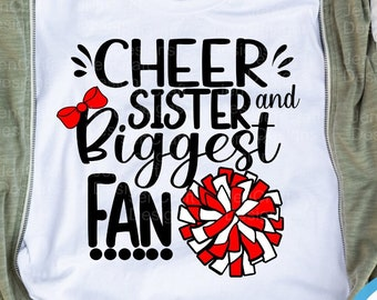 Cheer Sister svg, Biggest Fan Cheer svg, I'll always be Your biggest fan cut file, Little Big Sister cheerleader, megaphone svg eps dxf png