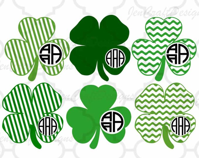 Shamrock svg Monogram leprechaun svg Design St Paddy's Day St. Patrick's Day Monogram SVG Cut Design,svg,dxf,png Silhouette & Cricut