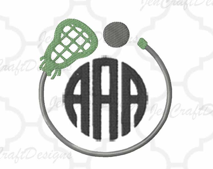 Lacrosse Lax Embroidery Design Monogram Frame, Fall Instant Download digital file in PES, EXP, VIP, Hus, Xxx and Jef