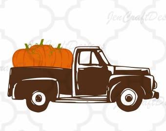 Antique Fall Pumpkins Truck SVG Autumn Vintage truck SVG classic truck svg cut File, DXF, eps, png for Silhouette, Cricut Digital Cut Files