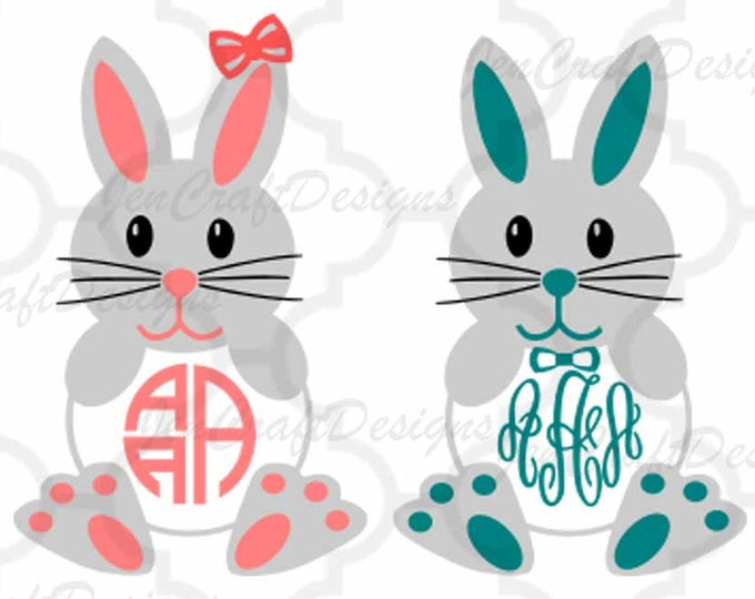 Easter Bunny Monogram Frames Svg Easter Monogram Frames, Easter Circle Monogram Easter SVG DXF Eps digital download Silhouette Cricut