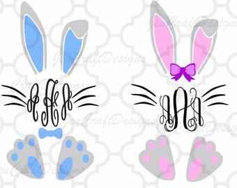 Easter Bunny Monogram SVG Frame, Bunny Monogram Frame Svg, Bunny Monogram Frame SVG,EPS,Dxf,digital download files Silhouette Cricut