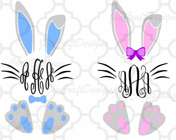 Easter Bunny Monogram SVG Frame, Bunny Monogram Frame Svg, Bunny Monogram Frame SVG,EPS,Dxf,digital download files Silhouette Cricut