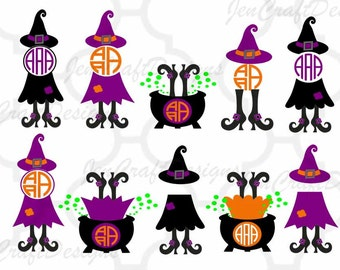 Witch SVG Monogram Halloween Witch Design Witch Legs in Cauldron Monogram Frame Digital Clipart Cut File Png SVG EPS Dxf Instant Download