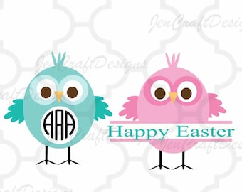 Chick Monogram frame SVG, easter svg, chick svg, Monogram Chicks SVG,Dxf,eps,png Cutting Files for Electronic Cutting Machines