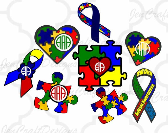 Autism Awareness SVG, Puzzle Monogram Frames SVG, Autism Mom SVG, Dxf, Eps, Png cutting files for use with Silhouette, Cricut